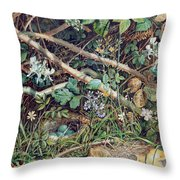 A Birds Nest Among Brambles Throw Pillow