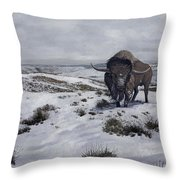 A Bison Latifrons In A Winter Landscape Throw Pillow by Roman Garcia Mora