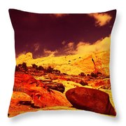 A Black Rock And Blue Sky Throw Pillow