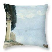 A Blue Day On Como Throw Pillow