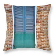 A Blue Door In New Orleans Throw Pillow