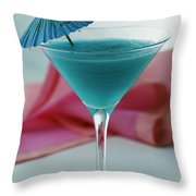 A Blue Hawaiian Cocktail Throw Pillow