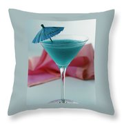 A Blue Hawaiian Cocktail Throw Pillow