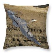 A Blue Heron Flying Throw Pillow