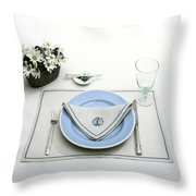 A Blue Table Setting Throw Pillow
