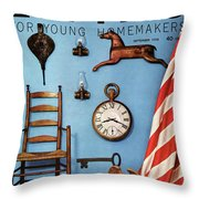 A Blue Wall With Decorations Throw Pillow