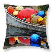 A Boat Full Of Color Throw Pillow