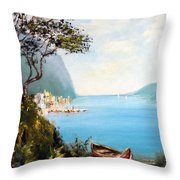 A Boat On The Beach Throw Pillow