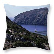 A Boat Sailing In The Valley Throw Pillow