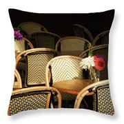 A Bouquet Of Flowers Amongst Empty Throw Pillow