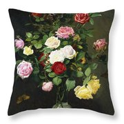 A Bouquet Of Roses In A Glass Vase By Wild Flowers On A Marble Table Throw Pillow
