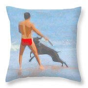 A Boy And His Dog 2 Throw Pillow