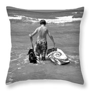 A Boy And His Dog Go Surfing Throw Pillow
