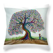 A Boy His Dog And Rainbow Tree Dreams Throw Pillow