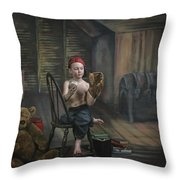 A Boy In The Attic With Old Relics Throw Pillow