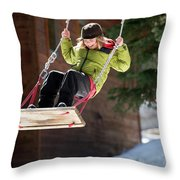 A Boy Plays Outside In Lake Tahoe Throw Pillow