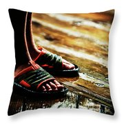 A Boys Wet Feet In Sandals Throw Pillow