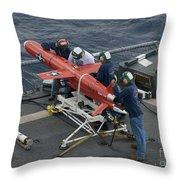 A Bqm-74e Drone Is Prepared For Launch Throw Pillow