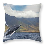 A Breaching Humpback Whale  Megaptera Throw Pillow