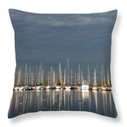 A Break In The Clouds - White Yachts Gray Sky Throw Pillow