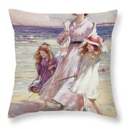A Breezy Day At The Seaside Throw Pillow