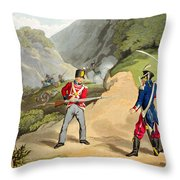 A British Soldier Taking Two French Throw Pillow by John Augustus Atkinson