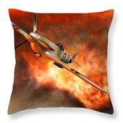 A British Supermarine Spitfire Bursting Throw Pillow