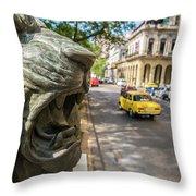 A Bronze Lion Guards Historic Buildings Throw Pillow