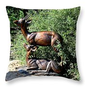 A Buck And His Doe Throw Pillow