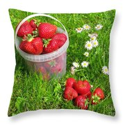 A Bucket Of Strawberries Throw Pillow