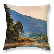 A Buffalo River Morning  Throw Pillow by Bill Tiepelman