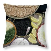 A Buffet With Blinis Throw Pillow