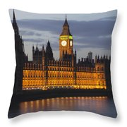 A Building And Clock Tower Along The Throw Pillow by Charles Bowman