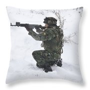 A Bulgarian Soldier Aims Down The Sight Throw Pillow