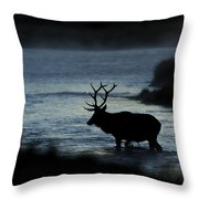 A Bull Elk Crosses The Madison In The Early Morning  Throw Pillow