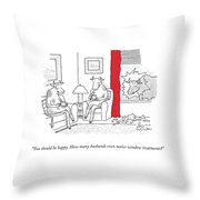 A Bull Has Broken A Glass Window Near A Red Throw Pillow