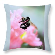 Bumble Bee And Azalea Throw Pillow