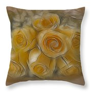 A Bunch Of Yellow Roses Throw Pillow by Susan Candelario