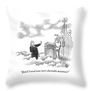A Business Man Standing In Heaven Throw Pillow