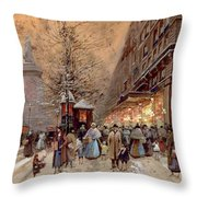 A Busy Boulevard Near The Place De La Republique Paris Throw Pillow
