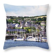 A Busy Harbour And Waterfrontkinsale Throw Pillow