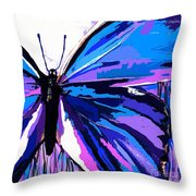 A Butterfly So Blue Throw Pillow