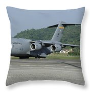 A C-17 Globemaster IIi Of The U.s. Air Throw Pillow