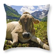 A Calf In The Mountains Throw Pillow
