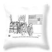 A Campaign Manager Speaks To A Bashful Politician Throw Pillow by Zachary Kanin