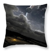 A Campfire In A Peaceful Night Throw Pillow