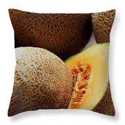 A Cantaloupe Sliced In Half Throw Pillow
