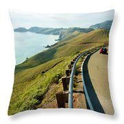 A Car Descends Conzelman Road Throw Pillow