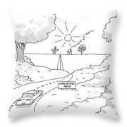 A Car On A Winding Road Heads For A Straight Road Throw Pillow