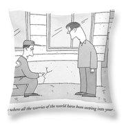 A Carpenter Examines A Crack On The Base Throw Pillow